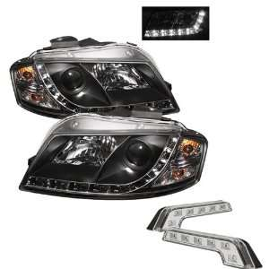 LED Black Projector Headlights and LED Day Time Running Light Package