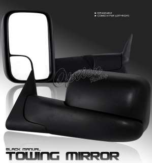 94 01 DODGE RAM PICKUP TRUCK OEM STYLE BLACK MANUAL TOWING MIRROR LEFT