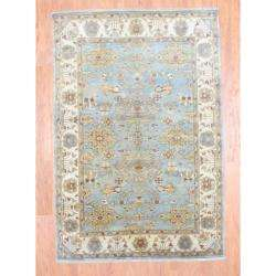 knotted Oushak Light Blue/ Ivory Wool Rug (6 x 89)