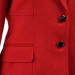 Anne Klein Womens Red Topstitched Skirt Suit