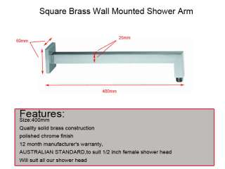 Square Brass Wall Mount Shower Arm