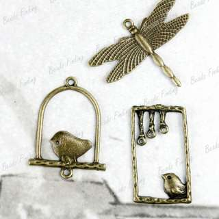 Vintage Style Antique Brass Bird Gragonfly Animal Charms TS6826