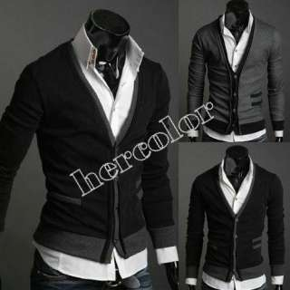 New Fashion Mens Slim Premium Stylish Mock Pockets Knit Coat Cardigan