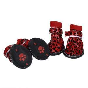 Pet Dog Boots Shoes Paw Covers Velcro Closure Leopard