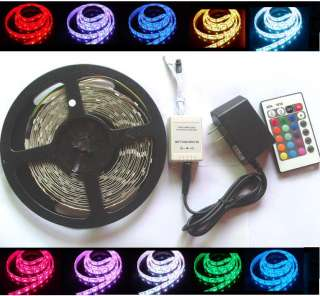 5M 5050 RGB LED Strip + Remote Controller+Power adapter