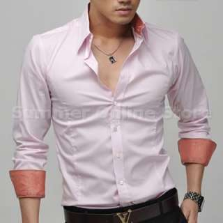 New Mens Casual Slim Fit Simple Stylish Dress T shirts Korean Style sz