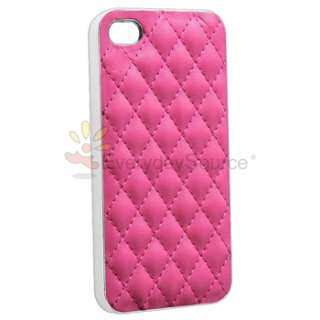Blue+White+Brown+Pink+Black Leather w/Silver Hard Case Cover For