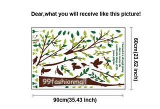 Removable Stylish Tree 6 Brown Birds Poem Large Art Mural Wall Sticker