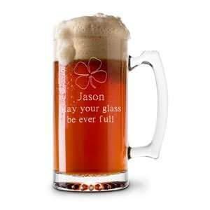 Personalized 13 oz. Glass Four Leaf Clover Beer & Sports Mug