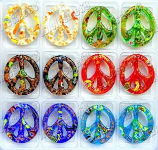 wholesale lots 12pcs murano glass peace pendants FREE