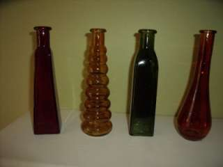 NEW Set 4 Colored GLASS BOTTLES VASES Pretty RED GREEN GOLD ORANGE