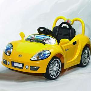 Kids Ride On Remote Control Power Sports Car    Yellow / Chrome