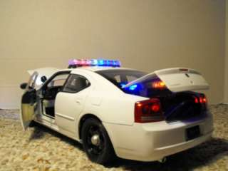 18 White Blank Police Dodge Charger Lights Custom Car