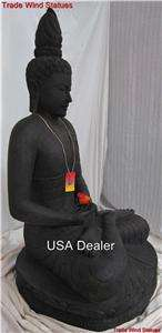 4ft CARVED STONE LIFE SIZE GARDEN BUDDHA STATUE THAI INDIA MEDITATION