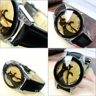 Enticing Elegant Black Kitty Womens Lady Bracelet Watch