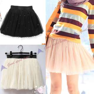 Fashion Koren Women Girl Pearl Lace Mini Princess Skirt Cute