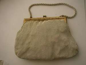 Art Deco Whiting Davis White Bronze Mesh Purse Handbag