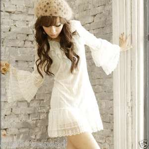 Women Layer Lace Bell Sleeve Frill Long Top Mini Dress
