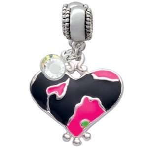 Hot Pink Enamel Large Cheetah Print Heart   Two Sided Charm European