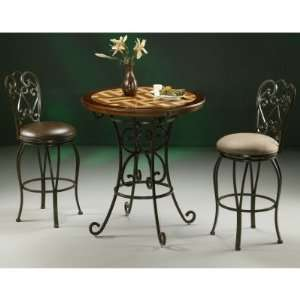 Pastel Magnolia 3 Piece Pub Table Set with Wood Travertine