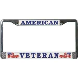 American Veteran Chrome License Plate Tag Frame