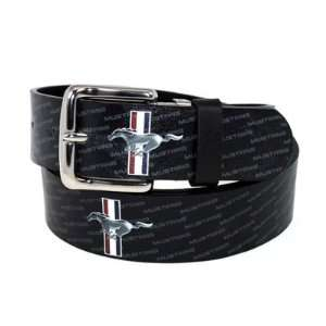 Ford Mustang Logo Black Leather Belt, Official Licensed