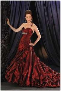 Off shoulder Red Wedding dress Ball Gown 8 10 12 14 16 WTA053