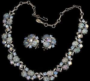 Lisner Signed Aurora Borealis Rhinestone Necklace and Earrings Set