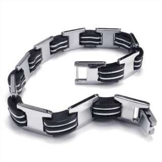 Men Black Silver Stainless Steel Rubber Bracelet Bangle