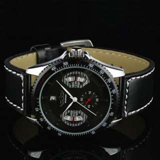 New WINNER Automatic Mechanical Stainless Black Leather Men Boy Watch