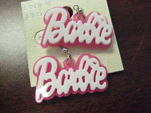 WHITE PINK NICKI MINAJS BARBIE HOOK DANGLE EARRINGS