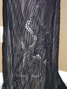 SUE WONG Black Silk Beaded Embellished Evening Formal Gown 6