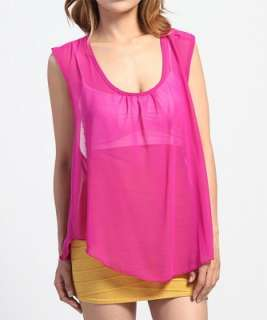 OPEN BACK Sleeveless BLOUSE Dressy Chiffon Cover Up Tank Top