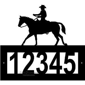 Steel Horse and Cowboy Riding address sign Patio, Lawn & Garden