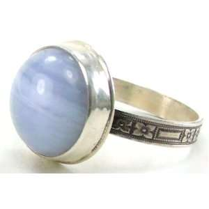 Round Light Blue Lace Agate Gemstone Ring, Size 9, Patterned 925