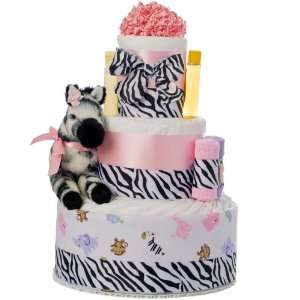 Pink Safari 3 Tier Diaper Cake Baby