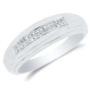 Silver Plated in White Gold Rhodium Diamond Two Rows MENS Wedding Band