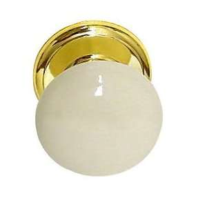 Bisque Cabinet Porcelain Knob And Brass Backplate D31