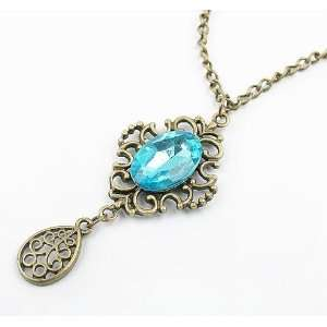 Fashion Jewelry, Blue Diamond Pendant Necklace,sweater