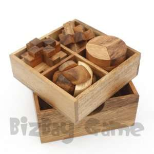 4 Wooden Brain Teaser Puzzle Set #2 Toys & Games