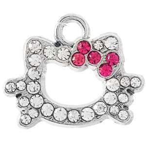 Hello Kitty Rhinestone Outlined Charm   Fuchsia Arts, Crafts & Sewing