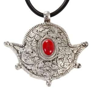 German Silver Pendant with Red Coral
