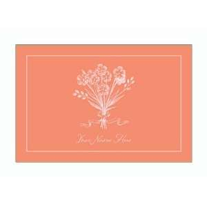 Personalized Stationery Note Cards with Bouquet   Melon