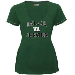 88 Dale Earnhardt Jr. Ladies Green All My Heart Premium V neck T shirt