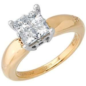 04 Carat 18kt Two Tone Gold Quattour for Amoro Diamond Ring Jewelry