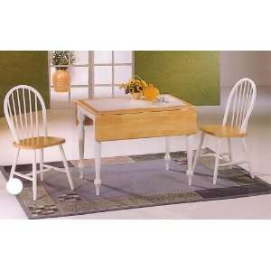 Natural & White Drop Leaf Tile Top Table & 4 Chairs