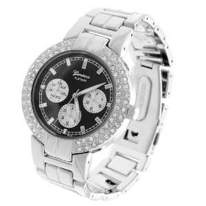 Geneva Platinum CZ Lined Mens Chronograph Watch