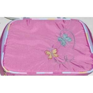 Pink Butterfly Soft Lunch Box Tote Insulated Snack Bag