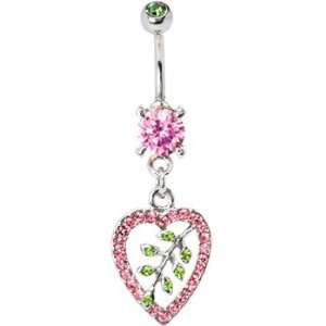 Pink Gem Hollow Leaf Heart Dangle Belly Ring Jewelry