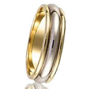 14k Yellow & White Two Tone Gold Mens Domed Grooved